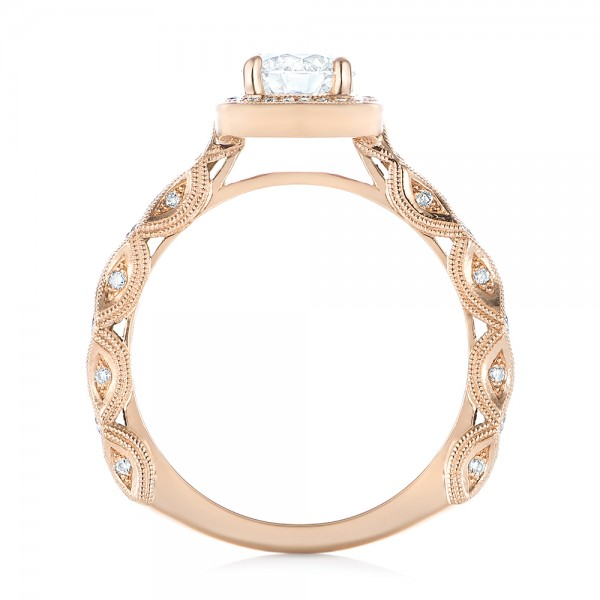 18k Rose Gold 18k Rose Gold Custom Diamond Halo Engagement Ring - Front View -  103596