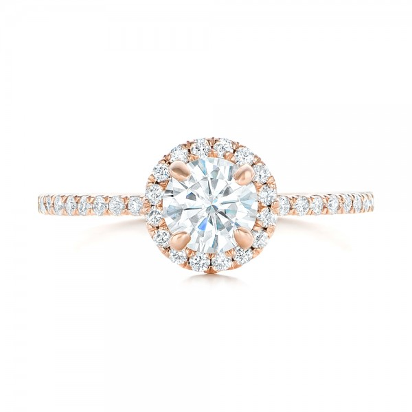 Custom Rose Gold Diamond Halo Engagement Ring - Top View