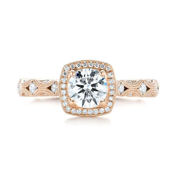 18k Rose Gold 18k Rose Gold Custom Diamond Halo Engagement Ring - Top View -  103596