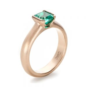 Custom Rose Gold Emerald Ring - Image