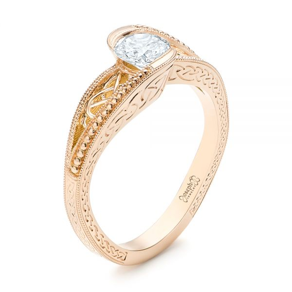 Custom Rose Gold Hand Engraved Solitaire Diamond Engagement Ring