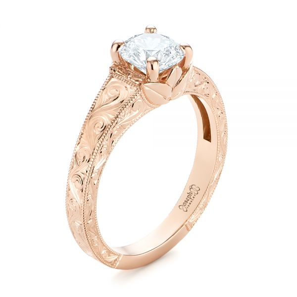Custom Rose Gold Hand Engraved Tri Leaf Solitaire Diamond Engagement Ring - Image
