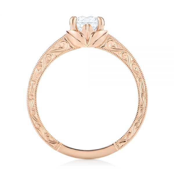 14k Rose Gold Custom Hand Engraved Tri Leaf Solitaire Diamond Engagement Ring - Front View -  104829