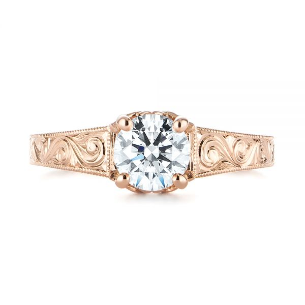 14k Rose Gold Custom Hand Engraved Tri Leaf Solitaire Diamond Engagement Ring - Top View -  104829