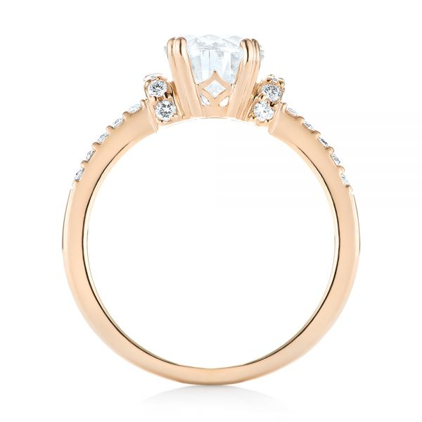 18k Rose Gold Custom Moissanite And Diamond Engagement Ring - Front View -