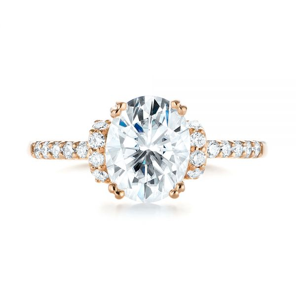 18k Rose Gold Custom Moissanite And Diamond Engagement Ring - Top View -