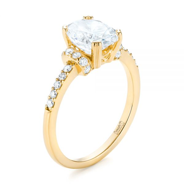 18k Yellow Gold 18k Yellow Gold Custom Moissanite And Diamond Engagement Ring - Three-Quarter View -