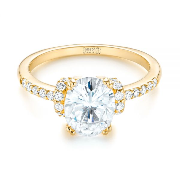 18k Yellow Gold 18k Yellow Gold Custom Moissanite And Diamond Engagement Ring - Flat View -