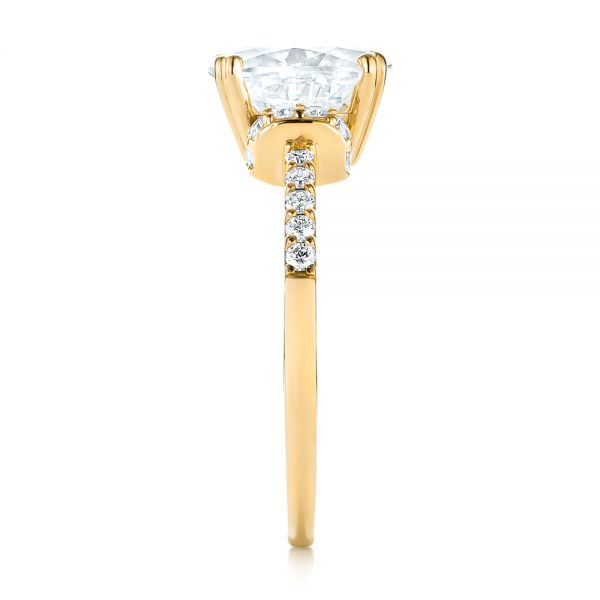 18k Yellow Gold 18k Yellow Gold Custom Moissanite And Diamond Engagement Ring - Side View -