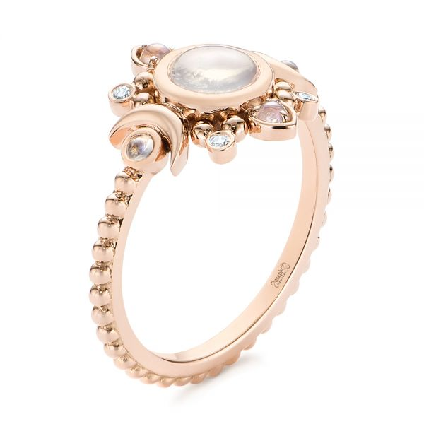 14k Rose Gold Custom Moonstone And Diamond Engagement Ring - Three-Quarter View -