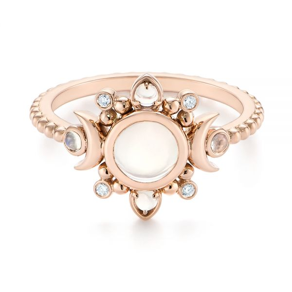 14k Rose Gold Custom Moonstone And Diamond Engagement Ring - Flat View -