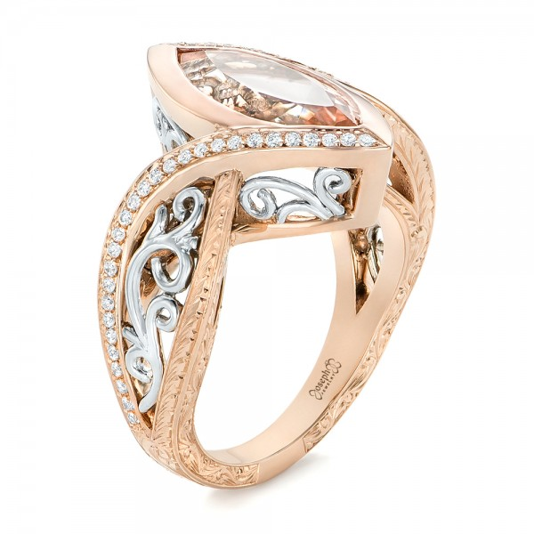Custom Two-Tone Rose Gold Morganite and Diamond Engagement Ring