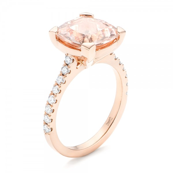 Custom Rose Gold Morganite and Diamond Engagement Ring