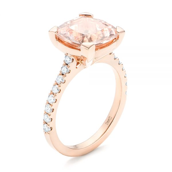 14k Rose Gold Custom Morganite And Diamond Engagement Ring - Three-Quarter View -