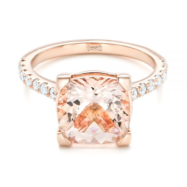 14k Rose Gold Custom Morganite And Diamond Engagement Ring - Flat View -
