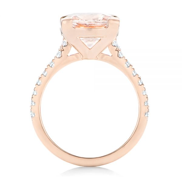 14k Rose Gold Custom Morganite And Diamond Engagement Ring - Front View -  102933