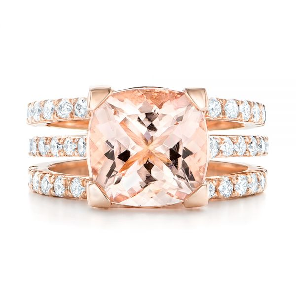 14k Rose Gold Custom Morganite And Diamond Engagement Ring - Top View -