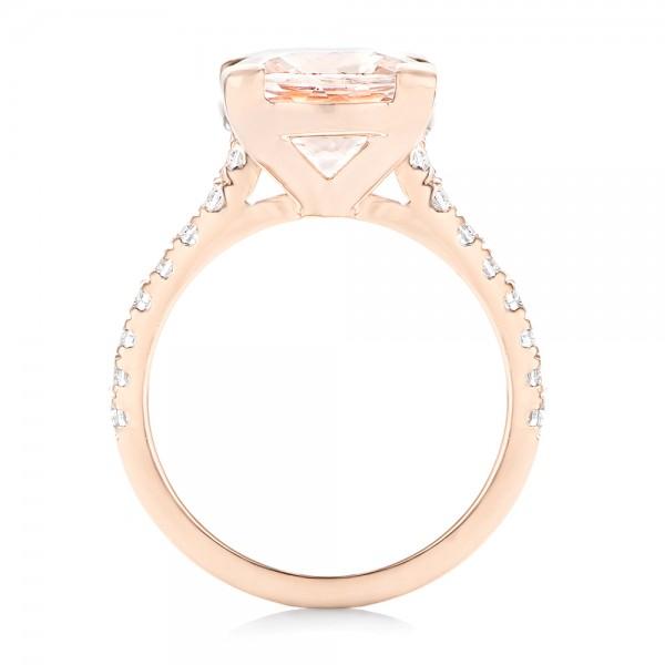 Custom Rose Gold Morganite and Diamond Engagement Ring - Finger Through View