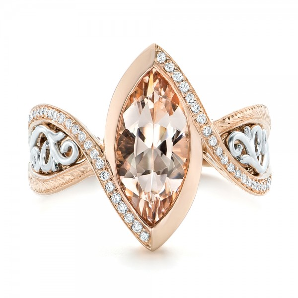 Custom Two Tone Rose Gold Morganite and Diamond Engagement Ring