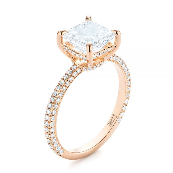 Custom Rose Gold Pave Diamond Engagement Ring - Image