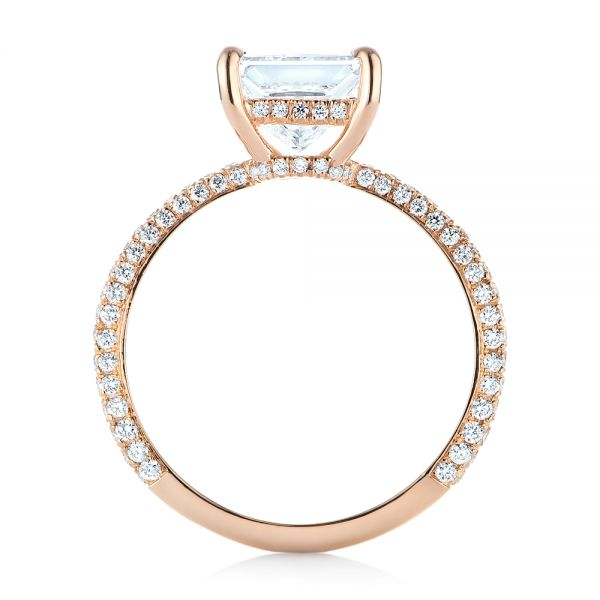 18k Rose Gold Custom Pave Diamond Engagement Ring - Front View -