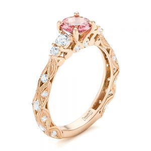 Custom Rose Gold Peach Sapphire and Diamond Engagement Ring - Image