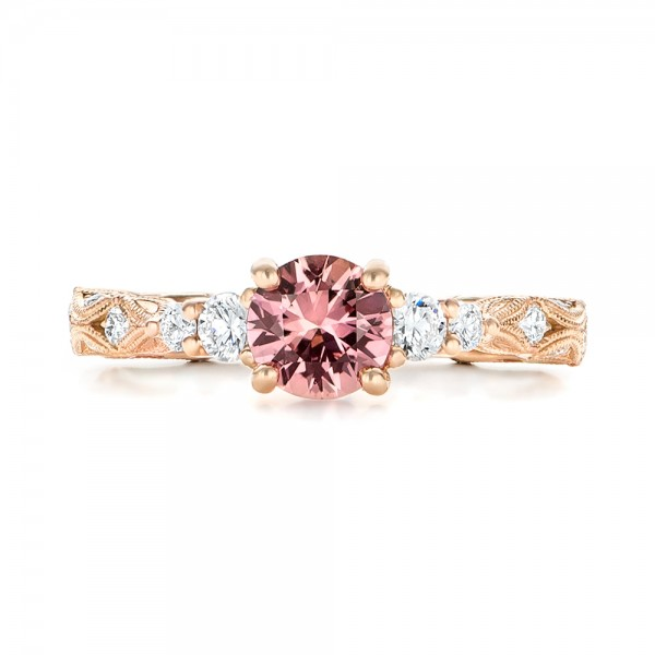 Custom Rose Gold Peach Sapphire and Diamond Engagement Ring - Top View