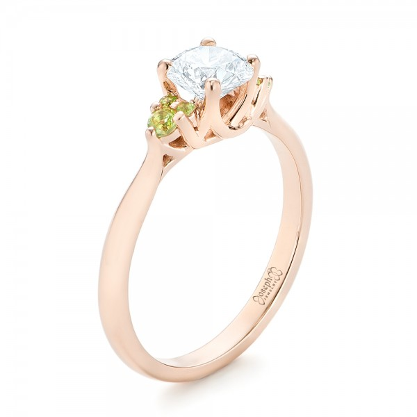 Custom Rose Gold, Peridot and Diamond Engagement Ring