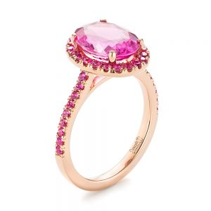 Custom Rose Gold Pink Sapphire Halo Engagement Ring - Image