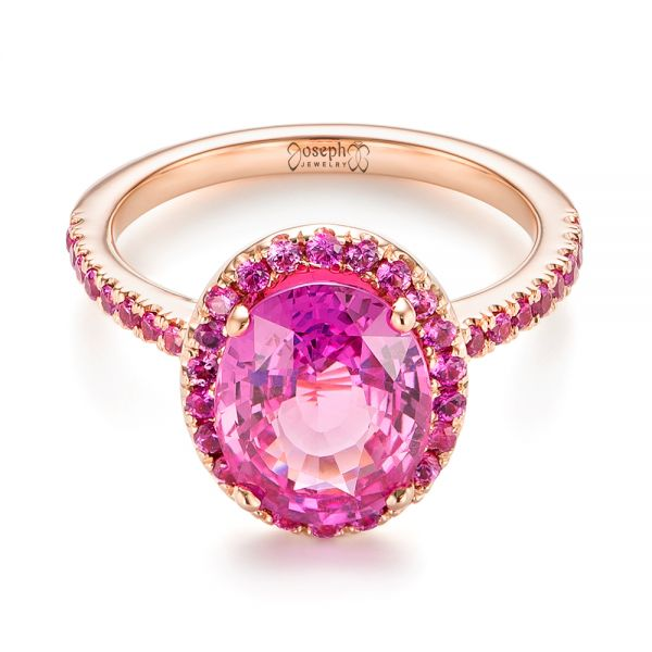 Custom Rose Gold Pink Sapphire Halo Engagement Ring - Flat View -  103630 - Thumbnail