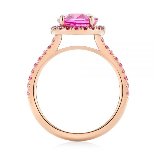 Custom Rose Gold Pink Sapphire Halo Engagement Ring - Front View -  103630 - Thumbnail