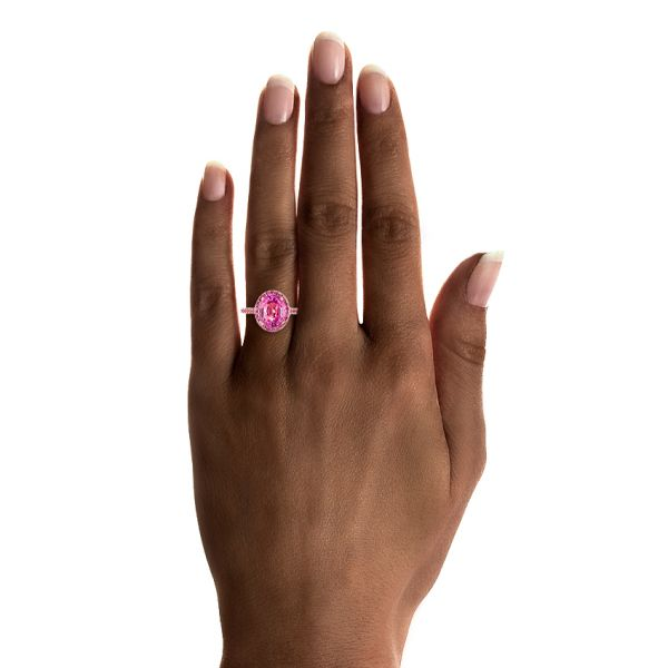 14k Rose Gold Custom Pink Sapphire Halo Engagement Ring - Hand View #2 -  103630