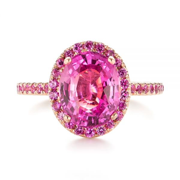 Custom Rose Gold Pink Sapphire Halo Engagement Ring - Top View -  103630 - Thumbnail