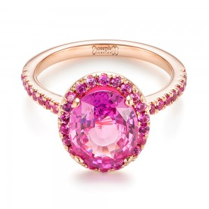 Custom Rose Gold Pink Sapphire Halo Engagement Ring