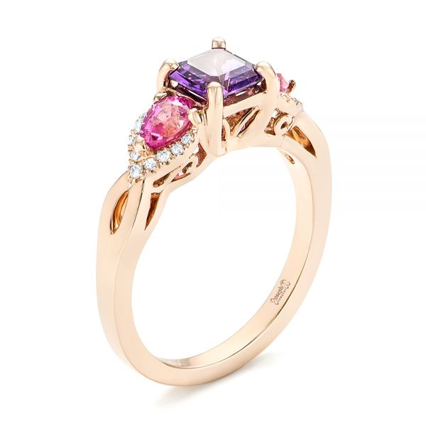 custom rose gold purple and pink sapphire and diamond engagement ring - Pink Wedding Ring