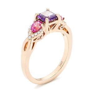 Custom Rose Gold Purple and Pink Sapphire and Diamond Engagement Ring