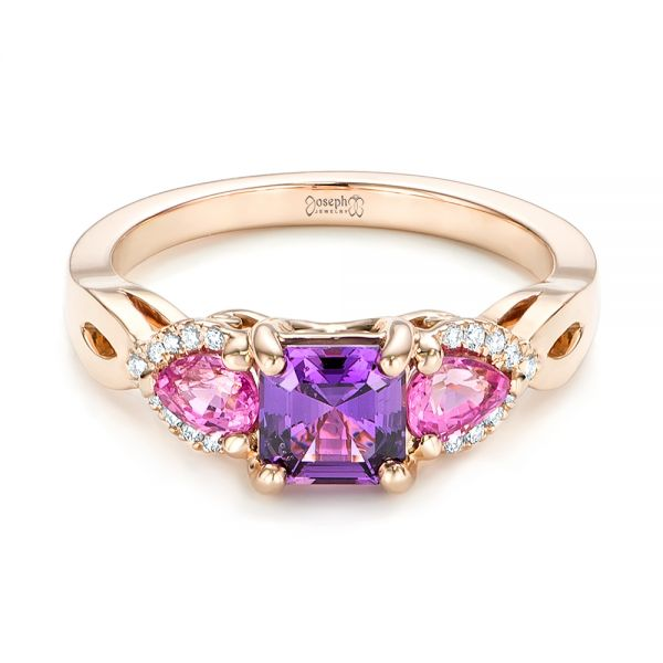 Custom Rose Gold Purple and Pink Sapphire and Diamond Engagement Ring - Flat View -  102984 - Thumbnail