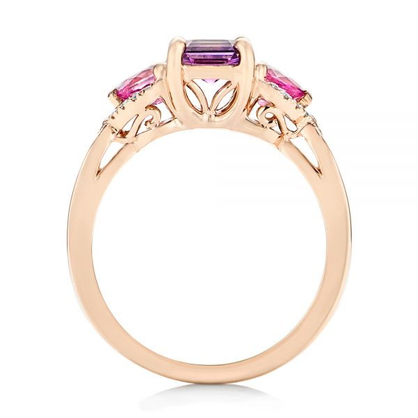 Custom Rose Gold Purple and Pink Sapphire and Diamond Engagement Ring - Front View -  102984 - Thumbnail
