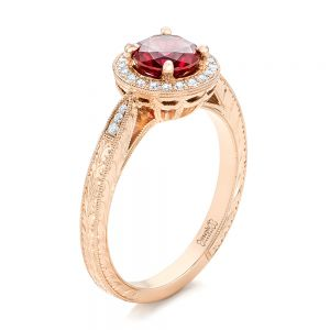 Custom Rose Gold Ruby and Diamond Engagement Ring - Image