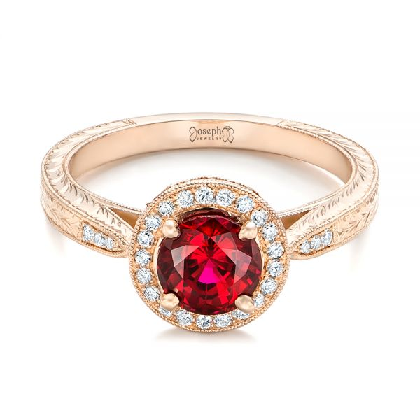 Custom Rose Gold Ruby and Diamond Engagement Ring - Flat View -  102453 - Thumbnail