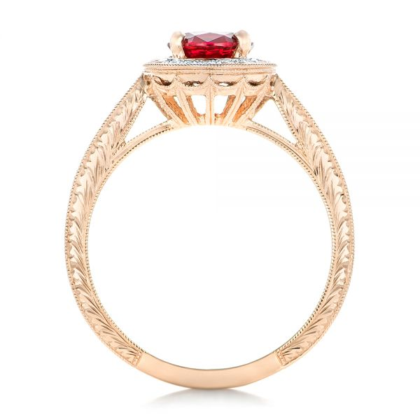 Custom Rose Gold Ruby and Diamond Engagement Ring - Front View -  102453 - Thumbnail