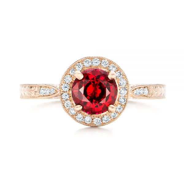 Custom Rose Gold Ruby and Diamond Engagement Ring - Top View -  102453 - Thumbnail