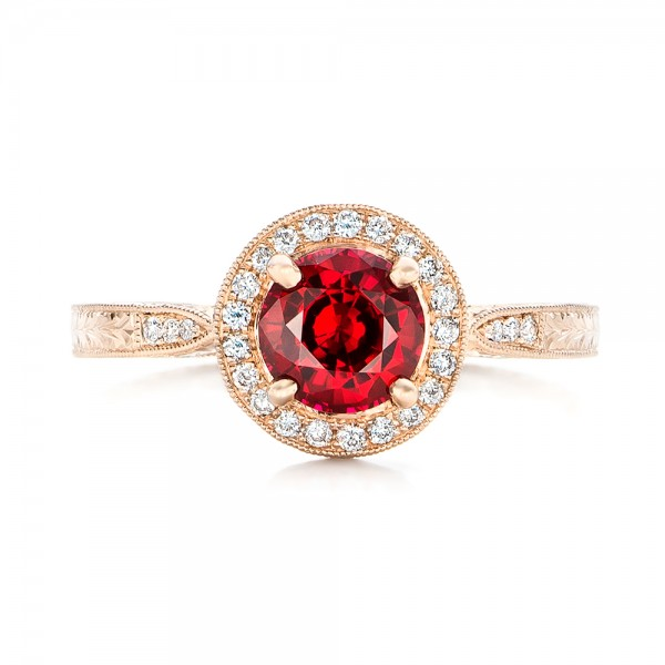 Custom Rose Gold Ruby and Diamond Engagement Ring - Top View