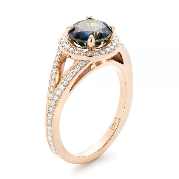 Custom Rose Gold Sapphire and Diamond Engagement Ring - Image