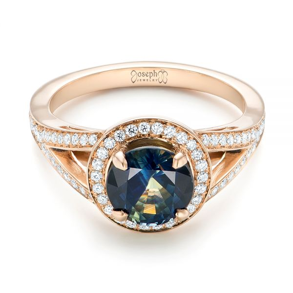 14k Rose Gold Custom Sapphire And Diamond Engagement Ring - Flat View -