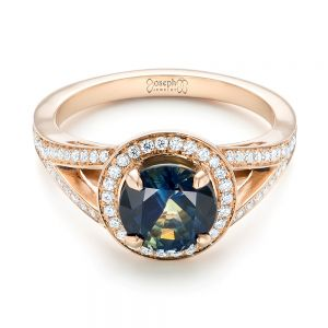 Custom Rose Gold Sapphire and Diamond Engagement Ring