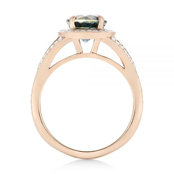 14k Rose Gold Custom Sapphire And Diamond Engagement Ring - Front View -