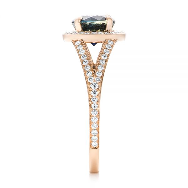 14k Rose Gold Custom Sapphire And Diamond Engagement Ring - Side View -