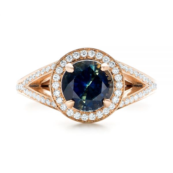 14k Rose Gold Custom Sapphire And Diamond Engagement Ring - Top View -