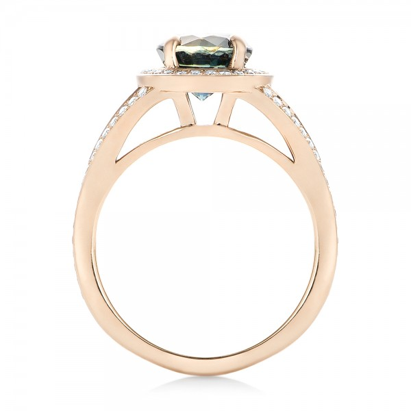 Custom Rose Gold Sapphire and Diamond Engagement Ring - Finger Through View